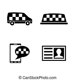 Taxi Service. Simple Related Vector Icons