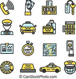 taxi, set, pictogram