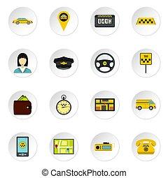 taxi,  Set, stijl, iconen, plat