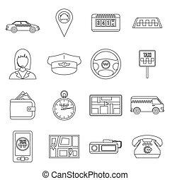 taxi, set, stijl, schets, iconen