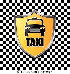 Taxi shield badge on checkered background