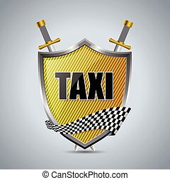 Taxi shield badge with checkered ribbon and swords