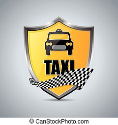 Taxi shield badge with checkered ribbon