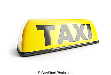 Taxi sign 3d on white background