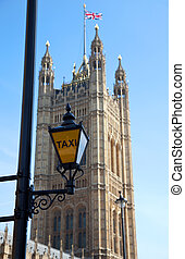 Taxi sign at Houses of Parliament London