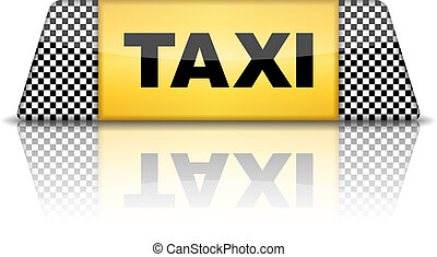 Taxi Sign - Taxi sign with reflection, vector eps10...