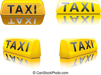 Taxi Sign - vector illustration of new york taxi signs in...