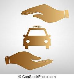 Taxi sign Golden Effect.