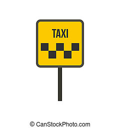 Taxi sign icon in flat style