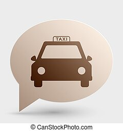 Taxi sign illustration. Brown gradient icon on bubble with shadow.