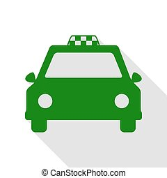 Taxi sign illustration. Green icon with flat style shadow path.