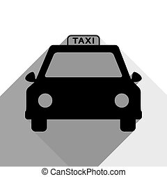 Taxi sign illustration. Vector. Black icon with two flat gray shadows on white background.