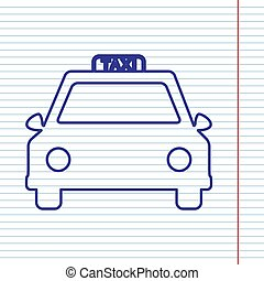 Taxi sign illustration. Vector. Navy line icon on notebook paper as background with red line for field.