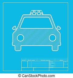 Taxi sign illustration. White section of icon on blueprint template.