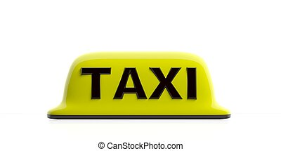Taxi sign isolated on white background. 3d illustration