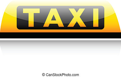Taxi sign on white