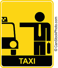 Taxi - sign, symbol - Sign with man and taxi