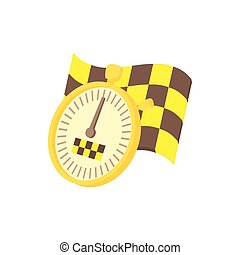 Taxi sign with stopwatch icon, cartoon style