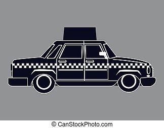 taxi, silhouette, voiture, publicité, vue côté