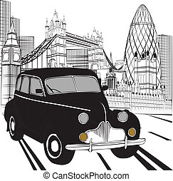 taxi, skiss, london
