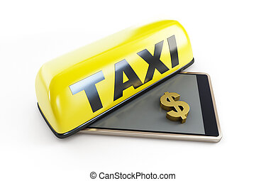 taxi smartphone dollar sign on a white background 3D illustration, 3D rendering