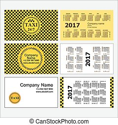 Taxi. Stylish set of business card templates and calendars