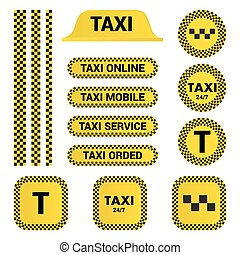 Taxi cab set stickers  Taxi cab set symbols, street orange signs