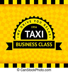 Taxi symbol with checkered background - 07, vector...