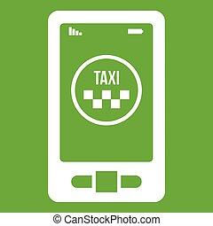 taxi, téléphone, app, vert, icône
