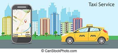 taxi, téléphone portable, carte, taxi