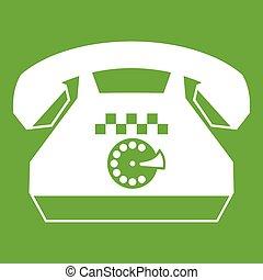 taxi, téléphone, vert, icône