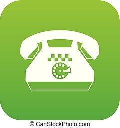 taxi, téléphonez icône, vert, numérique