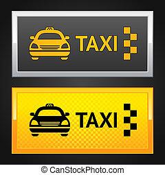 taxi taxi, ensemble, étiquette