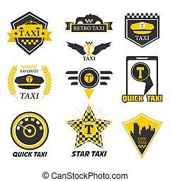 taxi, taxi, transport, jaune, isolé, icônes, ville