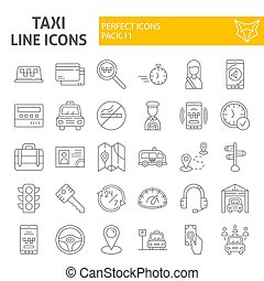 Taxi thin line icon set, car symbols collection, vector sketches, logo illustrations, cab signs linear pictograms package isolated on white background.