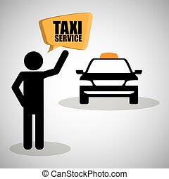 taxi, transport, design., icon., isolé, illustration