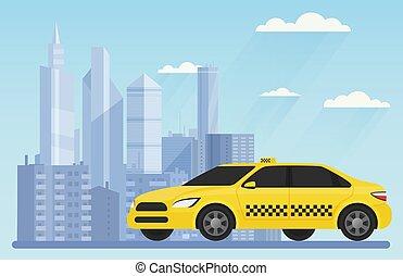 taxi, urbain, illustration., ville, voiture, moderne, jaune, vecteur, fond, paysage