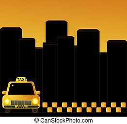 taxi, urban, bakgrund