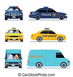 taxi, urban, sätta, polis, bil, chauffören, isolerat, leverans, betraktande, vektor, bil, främre del, lastbil, utsikt., sida, bil
