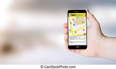 taxi, user´s, app, mozgatható, kéz
