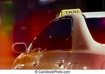 taxi, város, éjszaka