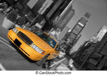 taxi, város, derékszögben, időmegállapítás, indítvány, york, elhomályosít, új