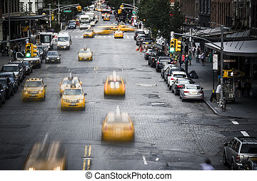 Taxi, Város, sárga, utca,  York,  sc, új