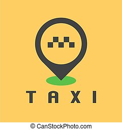 taxi, vecteur, conception, taxi, logo