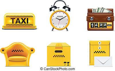 taxi, vecteur, service, icons., p.2