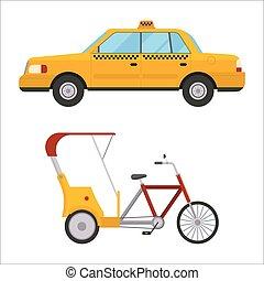 taxi, vecteur, service, voiture, isolé, illustration, vélo, trafic, taxi jaune, pousse-pousse, transport