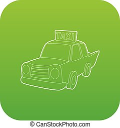 taxi, vecteur, vert, icône