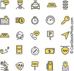 taxi,  vector, Conjunto, iconos
