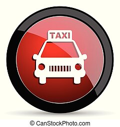 Taxi vector icon. Modern design red and black glossy web and mobile applications button in eps 10