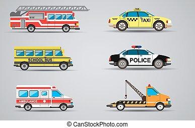 taxi., vector, policía, transporte, aislado, conjunto, ambulancia, coche, eduque autobús, camión, fuego, icons.